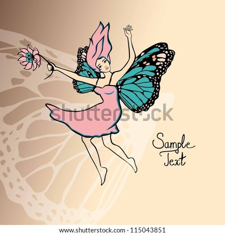 Beautiful fairy girl with flowers and wings. Vector Illustration