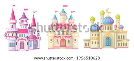 Beautiful fairy-tale castle for princess. Magic kingdom. Vintage Eastern Palace. Wonderland. Isolated cartoon illustration on a white background for stickers. Set of houses. Children's theme. Vector.  ストックフォト ©