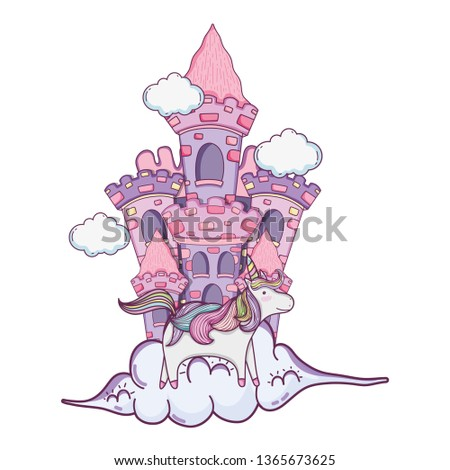 beautiful fairytale castle with unicorn in the clouds