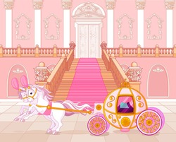 Beautiful fairytale pink carriage