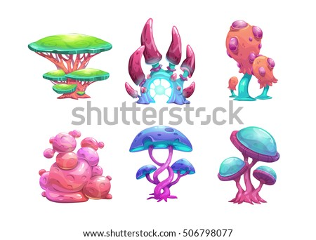 beautiful fantasy mushrooms set