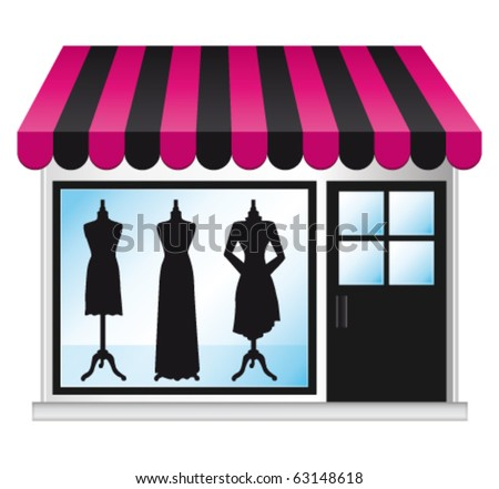 Beautiful fashion boutique with clothes in the shop window. Vector illustration.