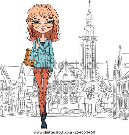 beautiful fashion girl student