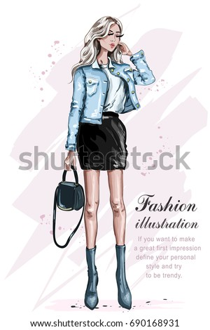 Beautiful fashion girl with bag. Stylish woman in fashion clothes. Fashion look. Sketch. Vector illustration.