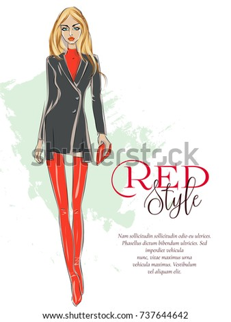beautiful fashion girl with red
