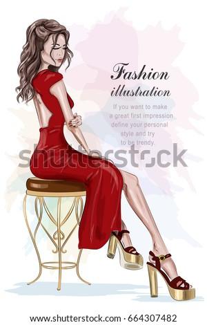 beautiful fashion woman in red...