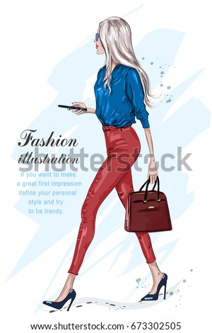 Beautiful fashion woman walking. Fashion stylish girl with accessories. Stylish businesswoman. Hand drawn fashion model in sunglasses. Sketch. Vector illustration.