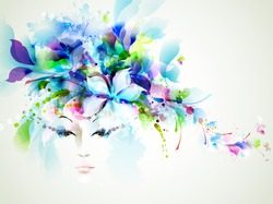 Beautiful fashion women face with abstract  design elements