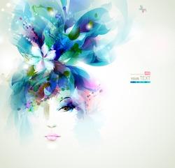 Beautiful fashion women face with flower