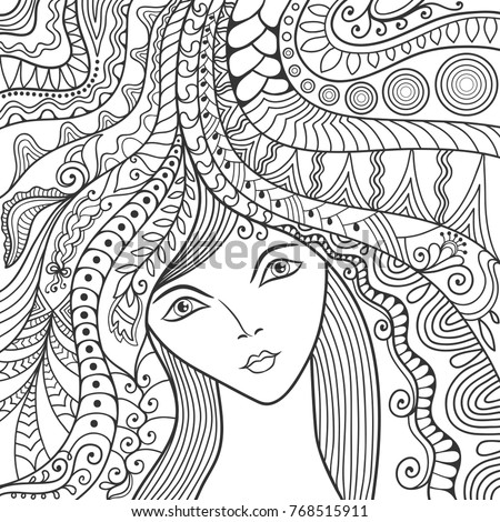 Stock Photo Beautiful fashion women, girl with abstract long hair. Hand drawn face. Zen-doodle art, tattoo design, black and white illustration. Freehand sketch drawing for adult anti stress coloring book page