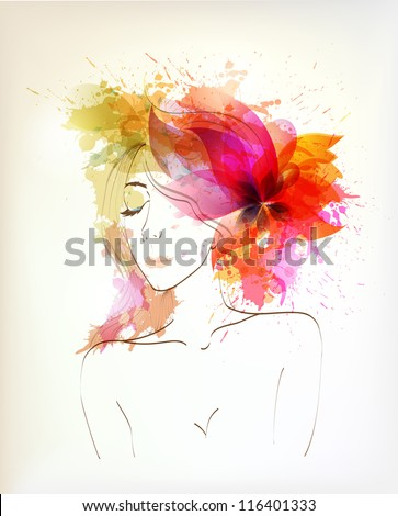 Beautiful fashion women  with abstract flower and blots. - stock vector