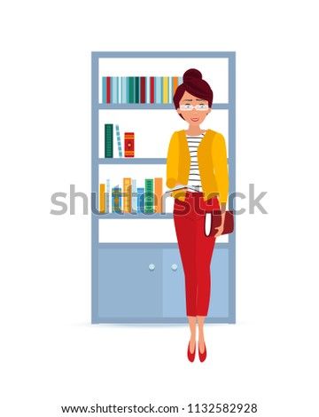 Beautiful fashionable girl takes book in library and reads with glasses on eyes. Education, gaining knowledge, self-improvement and raising intellectual level. Vector illustration in cartoon style.