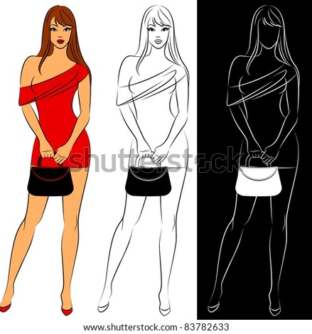 Beautiful fashionable girl. Vector