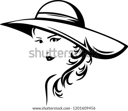 Beautiful fashionable young lady women long hair wearing a large hat  Silhouette  vector