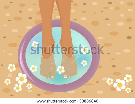 Beautiful feet in a SPA bowl