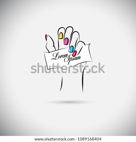 Beautiful female hands with manicure. Vector #1089168404