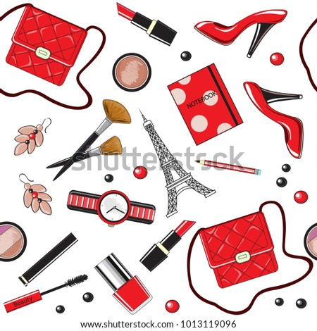 Beautiful female items of red color. Bag, lipstick, shoes seamless pattern