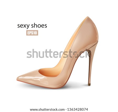 95e05c5a891 Beautiful female nude pump on a white background, sexy shoes, classic. High-