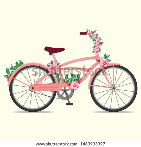 Beautiful female pink bike with ornament red rose flowers. Vector illustration cute bicycle with floral decoration. Cartoon flat style hand drawn bicycling. Kids sweety design.