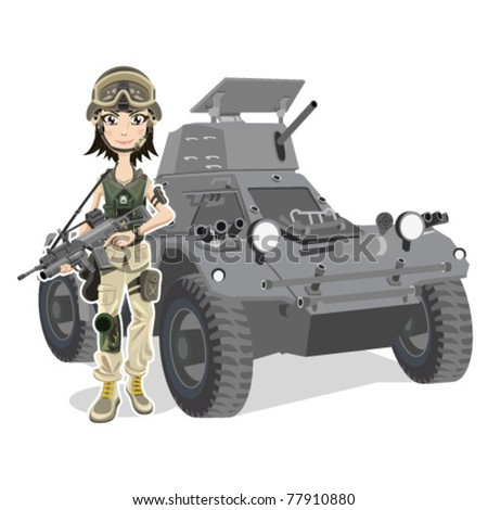 Beautiful female Soldier With Gun and Tank