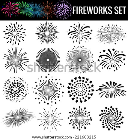 beautiful fireworks on white