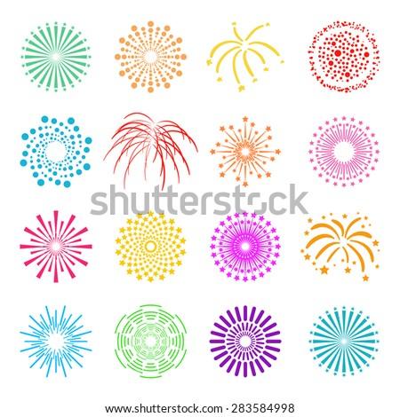 beautiful fireworks set vector