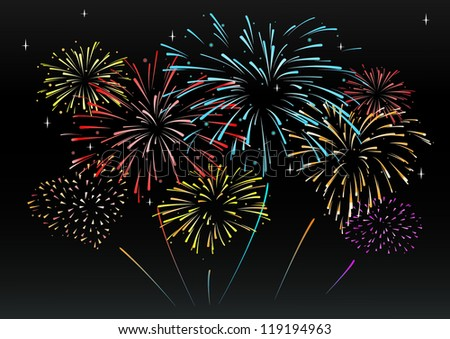 Beautiful Fireworks Vector in the night