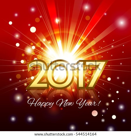 Beautiful fireworks with a bright flash of light with greetings Happy New Year! and gold number 2017 #544514164