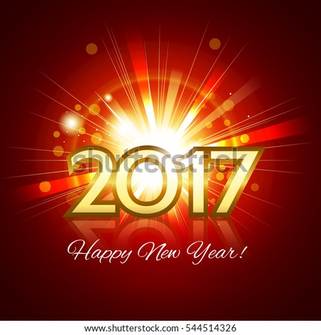 Beautiful fireworks with a bright flash of light with greetings Happy New Year! and gold number 2017 #544514326