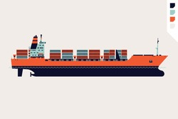 Beautiful flat four colored vector loaded container ship decorative element   Modern global cargo shipping design element. Ideal for shipment and international trade infographics and web articles