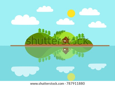 beautiful flat vector landscape