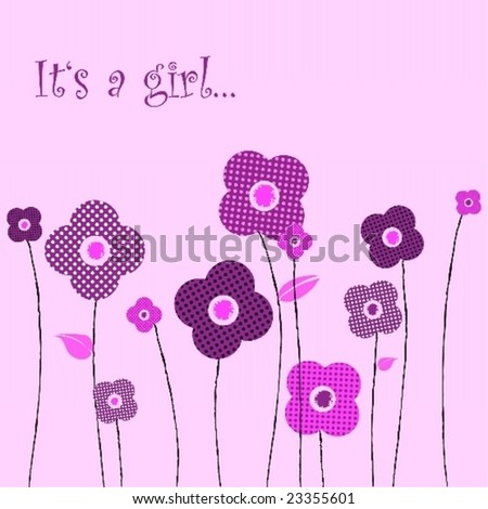 Beautiful floral baby announcement -girl - stock vector