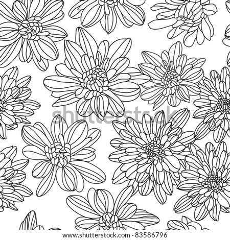 Beautiful floral background  black and white (vector version eps 8)