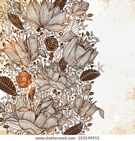 Beautiful floral background, hand drawn retro flowers, leafs and ornaments. Vintage engraving ornate for summer design. Grunge texture.