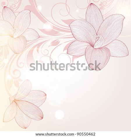 Beautiful floral background with flower lily. Element for design.