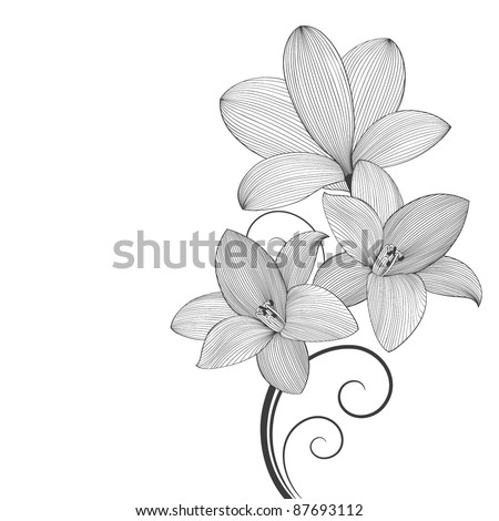 Beautiful floral background with flowers lily. Element for design. - stock vector