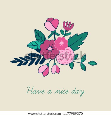 Beautiful floral bouquet greeting card design. Hand drawn style. Vector Illustration