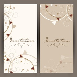 Beautiful floral decorated invitation cards.