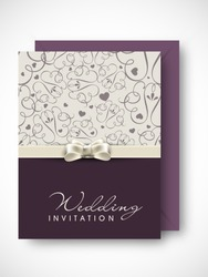 Beautiful floral decorated wedding invitation card.