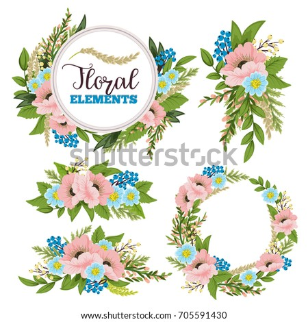 Beautiful floral design elements.Vector Illustration