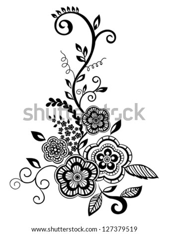 Beautiful floral element. Black-and-white flowers and leaves design element with imitation guipure embroidery.. Many similarities to the author's profile.