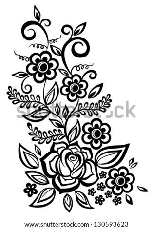 beautiful floral element black