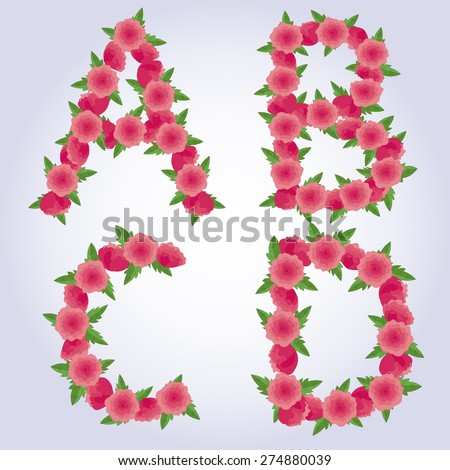 Beautiful Floral English Font Letters A B C D Flowers Rose Peony Leaves