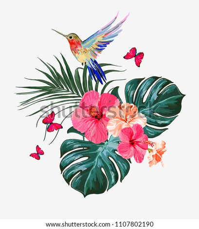Beautiful floral exotic vector illustration with hummingbird, tropical palm  leaves, hibiscus,. Isolated on white background.