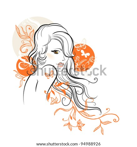 Beautiful floral girl - stock vector