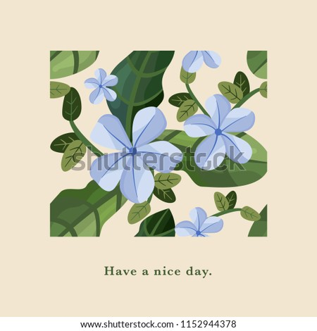 Beautiful floral greeting card.  Vector illustration.