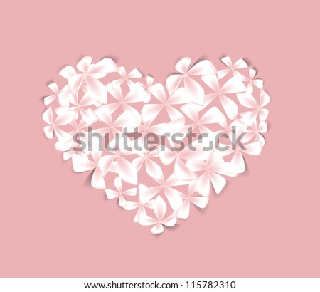 Beautiful  floral heart on a pink background - stock vector