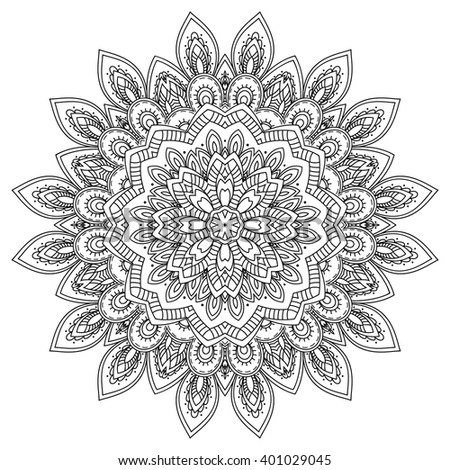 Beautiful floral mandala. Ethnic decorative element. Hand drawn background.