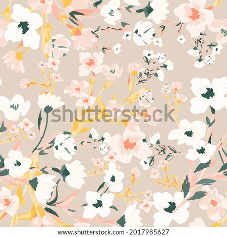 Beautiful floral motif. pink flowers intertwined in a seamless pattern on a gentle background Stock foto ©