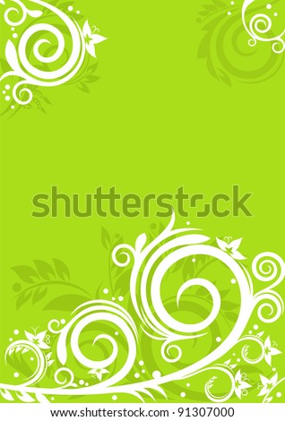 Beautiful floral ornaments on green background. Spring concept for Your design